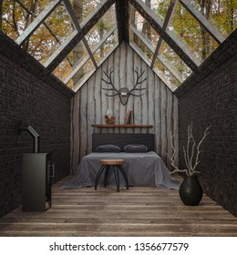 3D rendering of an interior of a cozy cabin in the woods with glass roof, a bed and fireplace