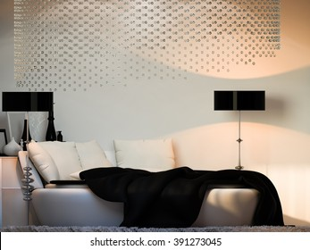 3d rendering Interior design bedroom in black and white colors. Bedroom with a large round bed and a dressing table