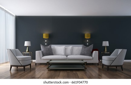 3D rendering interior design concept of luxury living room and black wall texture