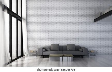 3D rendering interior design of lounge and living room and white brick wall