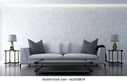 The 3D rendering interior design of luxury lounge and living room and brick wall