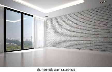 The 3d rendering interior design of luxury empty living room and white brick wall background