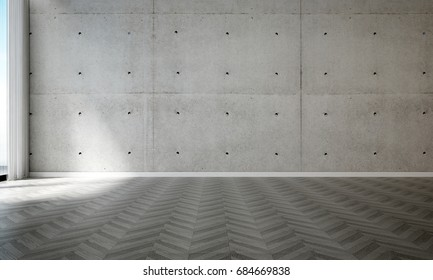 3D rendering interior design scene of empty hall room and concrete wall