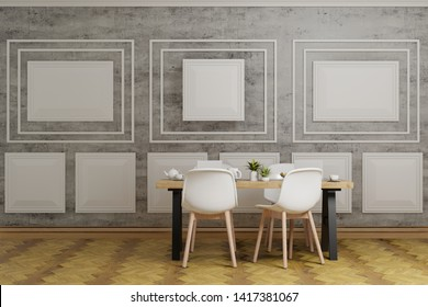 3d rendering interior dining room, white chairs and wooden table in the room of cement and white wall panel wooden floor.