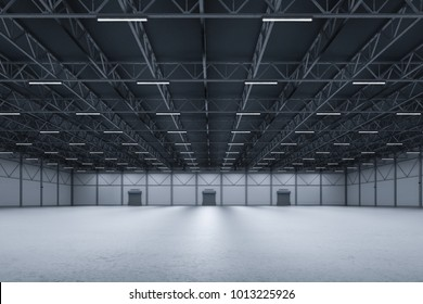 3d rendering interior empty factory with neon tubes