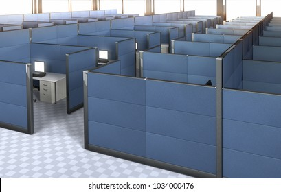 3D rendering of the interior of an empty office with cubicles.
