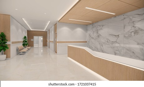3d rendering. Interior hospital modern design . Counter and Waiting area  Empty Reception Medical practice concept.4k