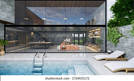 3d rendering. Interior house modern open living space with kitchen.Loft style Duplex  residence .Home decoration luxury  interior-exterior design.Outdoor terrace with swimming pool.