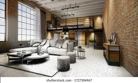 3d rendering. Interior house modern open living space with kitchen.Loft style Duplex apartment residence.Home decoration luxury  interior design.