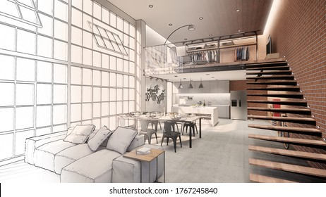 3d rendering. Interior house modern open living space with kitchen.Loft style Duplex apartment residence.Home decoration   interior design.drawing line sketch to realistic.