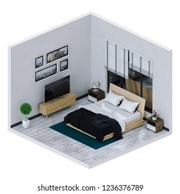 3D rendering of interior living bedroom with Smart TV