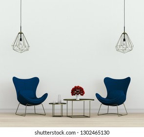 3D rendering of interior living room with armchair,lamp,table
