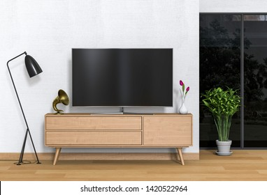 3D rendering of interior living room with Smart TV, cabinet, lamp and plant.