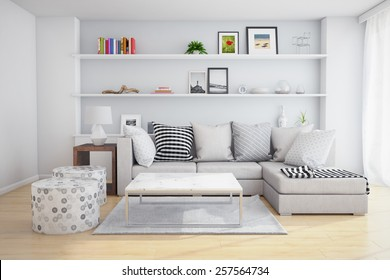 3D rendering of interior of a living room with shelves and sofa with pillows.