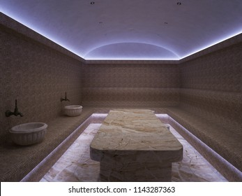 3D rendering Interior of luxury turkish bath hammam. Traditional Turkish bathroom. Classic Turkish sauna hammam