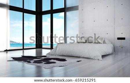 3 d rendering interior model modern bedroom stock illustration