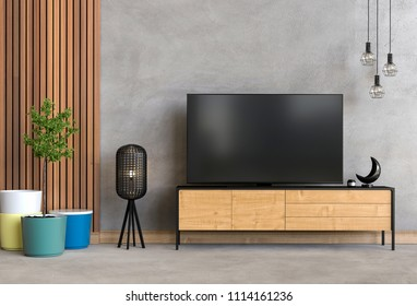 3D rendering of interior modern living room with Smart TV, cabinet, lamp and plant.