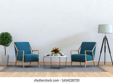 3D rendering of interior modern living room with armchair,lamp,plant