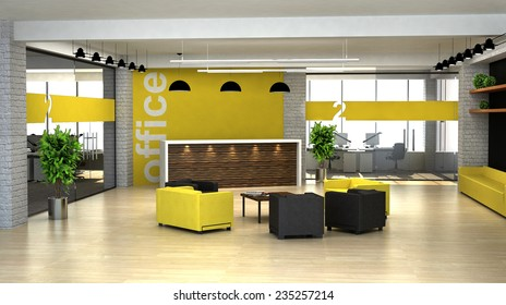 3d rendering an interior of the modern office. Hall with reception desk.
