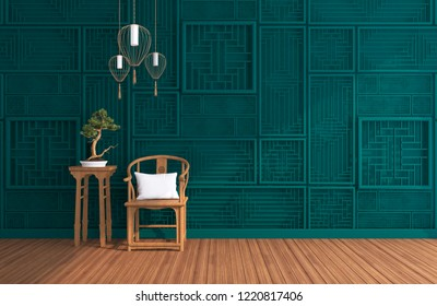 3d rendering, interior 3d perspective living room withe wooden chair and side table decoration by bonsai tree and hanging lamp