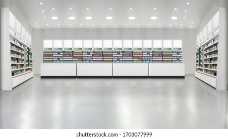 3D rendering interior of pharmacy store. Illustration and mockup. Drugs, pills, Skincare and Cosmetic products on shelf. Suitable for presenting new products and new designs or labels.