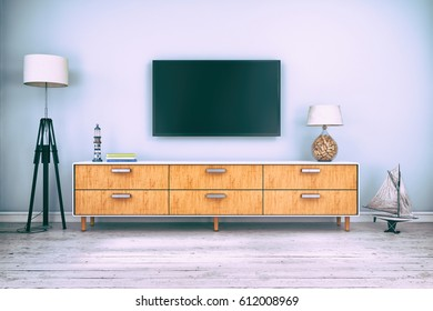 3d rendering - interior of scandinavian living room with sideboard and flatscreen-TV, maritime decoration
