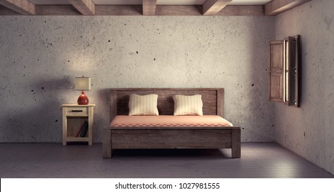 3d rendering of an interior scene of a rustic room.