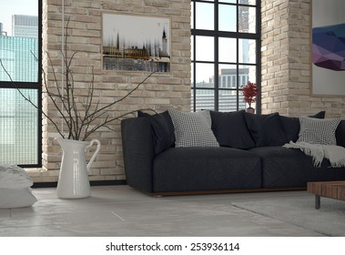 3d Rendering of Interior of Urban Apartment Living Room with Sofa and Exposed Brick Wall