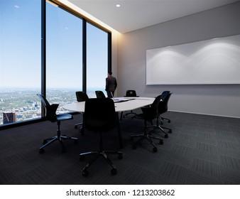 3d rendering ,interior,meeting room