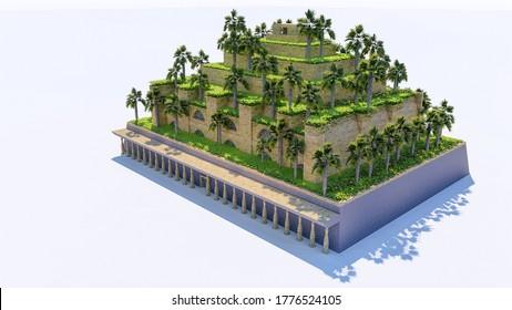 3d rendering of isolatd hanging garden of babylon