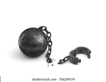 3d rendering of an isolated ball and chain lying broken near a leg shackle. Business boundaries. Freedom and rights. Legal help.