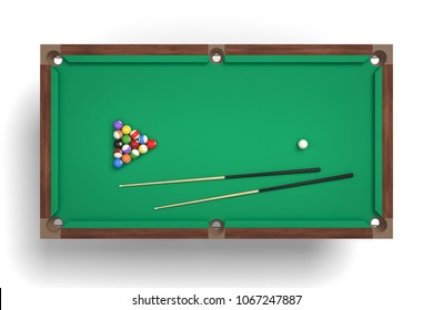 3d rendering of an isolated billiard table in a top view with a full set of sticks and balls in its surface.. Game overview. Game strategy. Pool equipment.