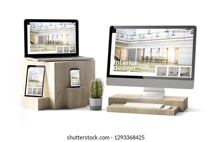3d rendering of isolated devices over wooden cubes showing responsive interior design website