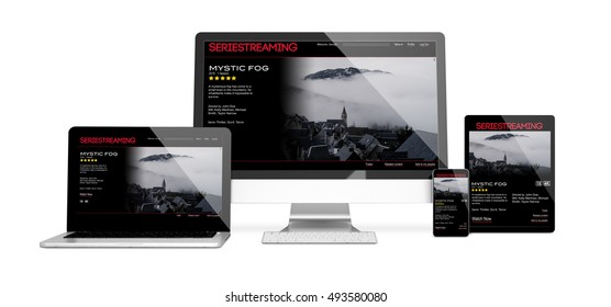 3d rendering of isolated devices showing responsive streaming website on screen. All screen graphics are made up.
