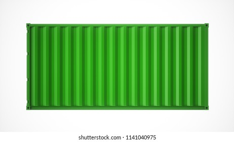 3D rendering Isolated green cargo container on the white background
