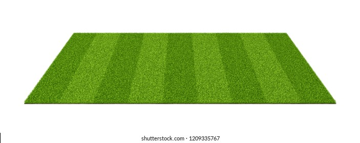 3d rendering of an isolated sports field with green grass on a white background. Sports field. Summer team games. Exercise and recreation place.