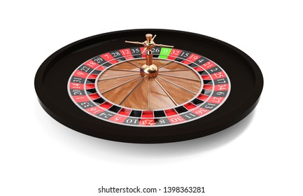 3d rendering of an isolated wooden casino roulette with golden decorations standing bent on one side. Casino games. Winning chance. Black or red betting