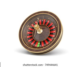 3d rendering of an isolated wooden casino roulette with golden decorations on white background. Casino games. Winning chance. Black or red betting.