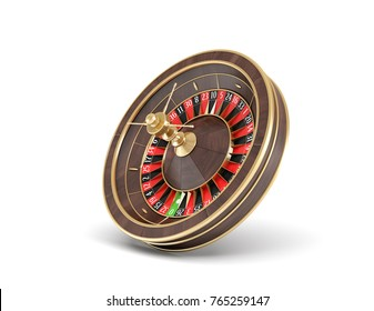 3d rendering of an isolated wooden casino roulette with golden decorations standing bent on one side. Casino games. Winning chance. Black or red betting.