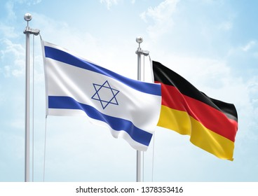 3D Rendering of Israel & Germany Flags are Waving in the Sky - 3d illustration