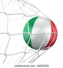 3d rendering of a Italian soccer ball in a net