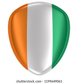 3d rendering of an Ivory Coast flag icon on white background.