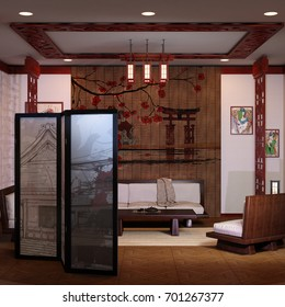 3D rendering of a Japanese home interior