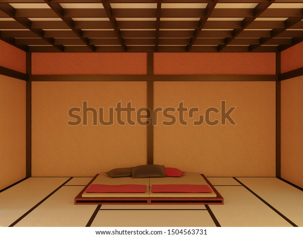 3d Rendering Japanese Style Bedroom Interior Stock Illustration 1504563731