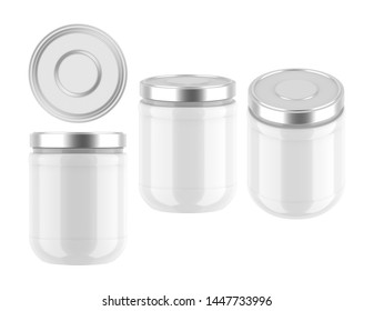 3D rendering jar with metal lid for gel, cream, butter, mayonnaise, jam, sauce, etc. jar template mock up on white background