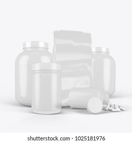 3d rendering of jar of sports nutrition on a white background