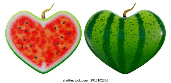 3d rendering of juicy fresh ripe heart-shaped watermelon with a half slice isolated on white background.