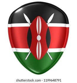 3d rendering of a Kenya flag icon on white background.