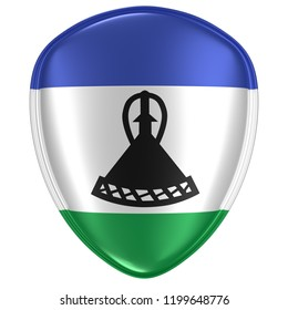 3d rendering of a Kingdom of Lesotho flag icon on white background.
