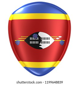 3d rendering of a Kingdom of Swaziland flag icon on white background.
